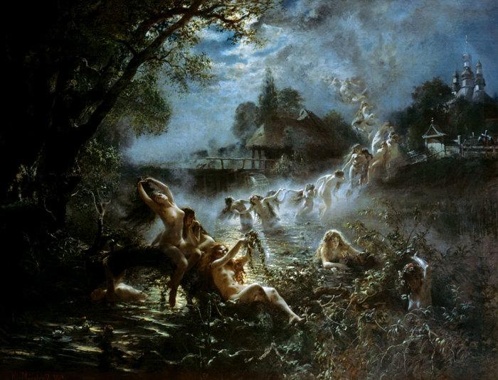 Художник К. Маковский, Русалки, 1879./Фото: smallbay.ru